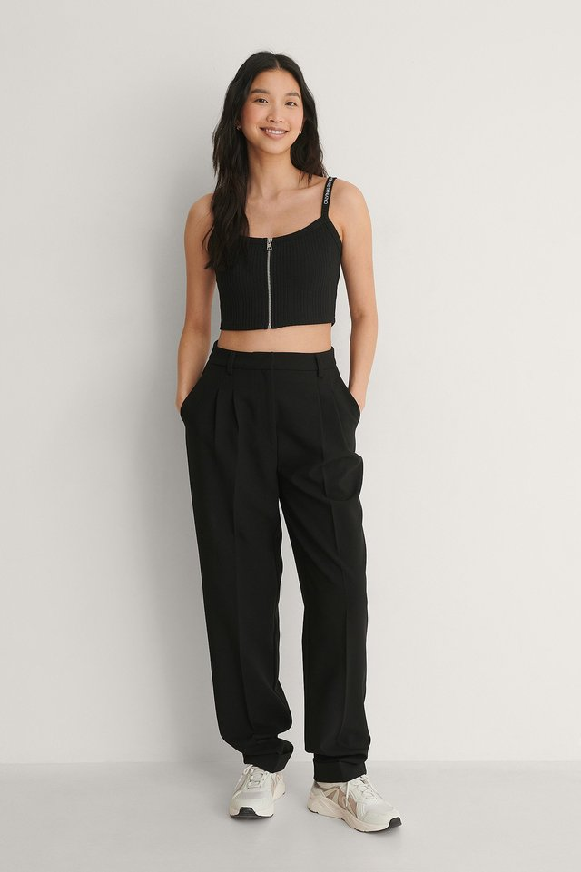 Strappy Zipper Rib Top Outfit.