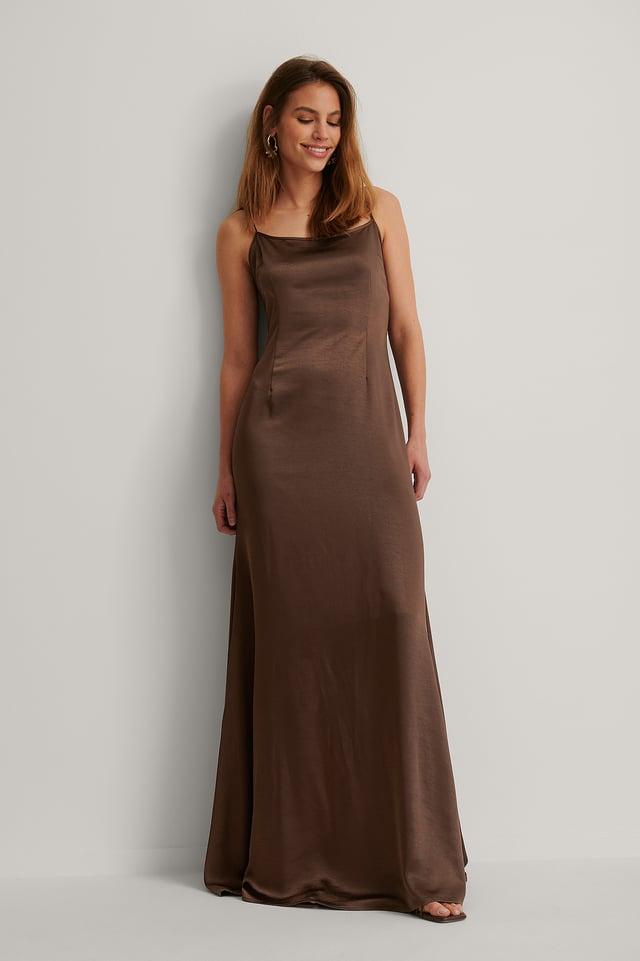 Scoop Neckline Maxi Slip Dress Outfit