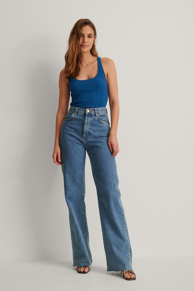 Scoop Neckline Ribbed Top Outfit