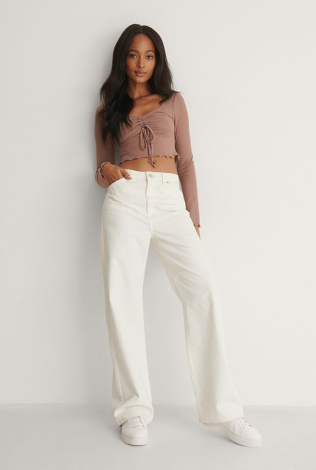 Drawstring Detail Long Sleeve Top Outfit.