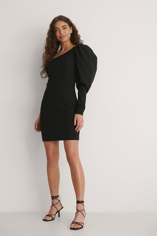 One Puff Shoulder Dress Outfit.