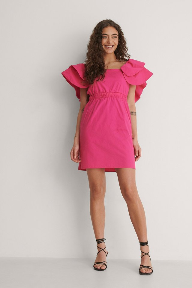 Ruffle Shoulder Dress Outfit.