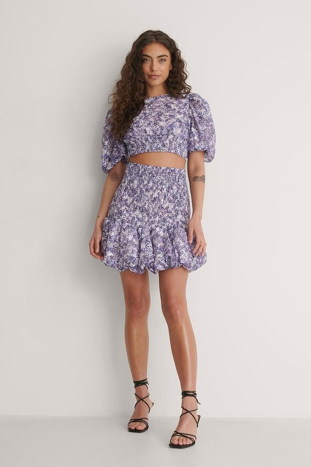 Smocked Dubble Hem Skirt Outfit.
