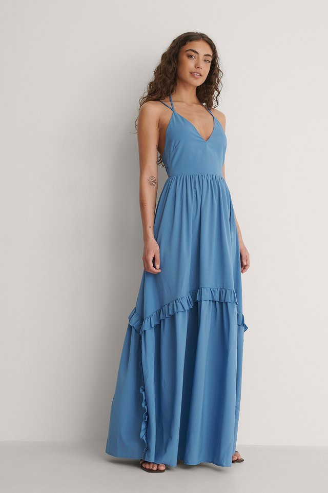 Tie Back Pleated Maxi Dress Outfit.