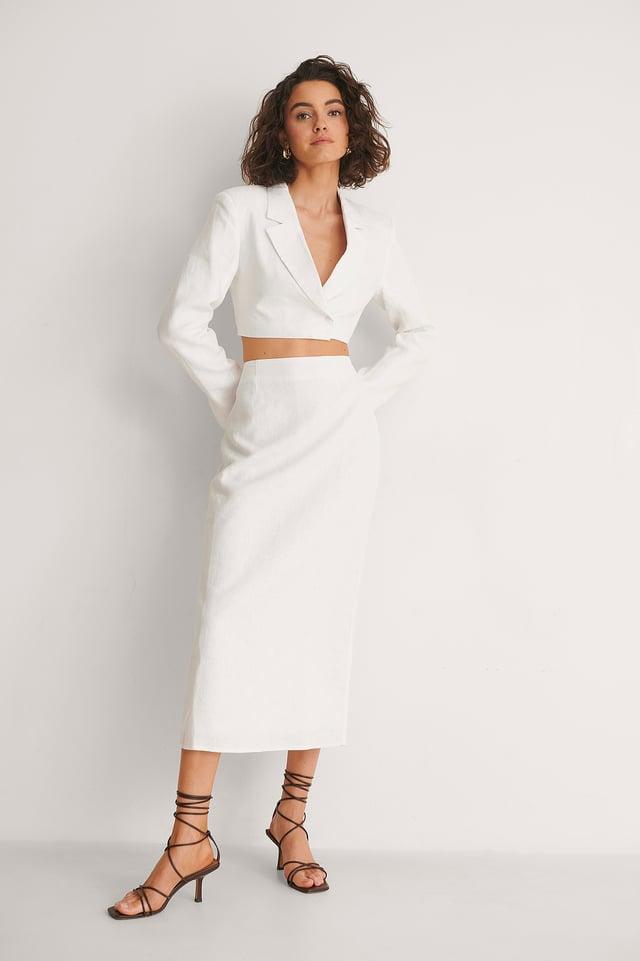 Linen Pencil Midi Skirt
