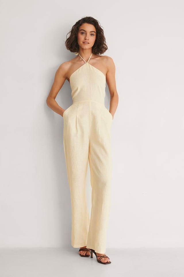 Halterneck Linen Jumpsuit Outfit.