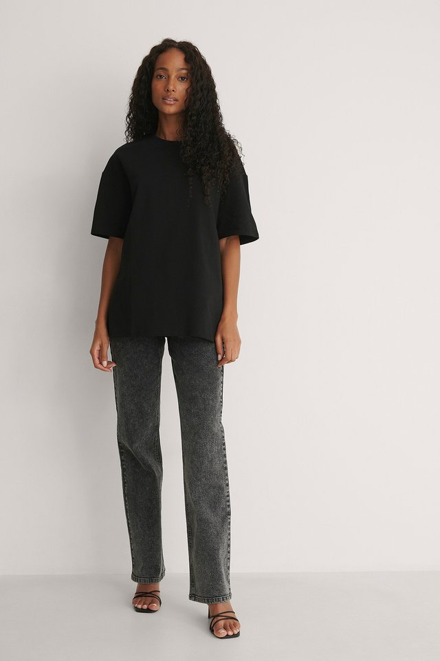 Basic Dropped Shoulder Tee Outfit