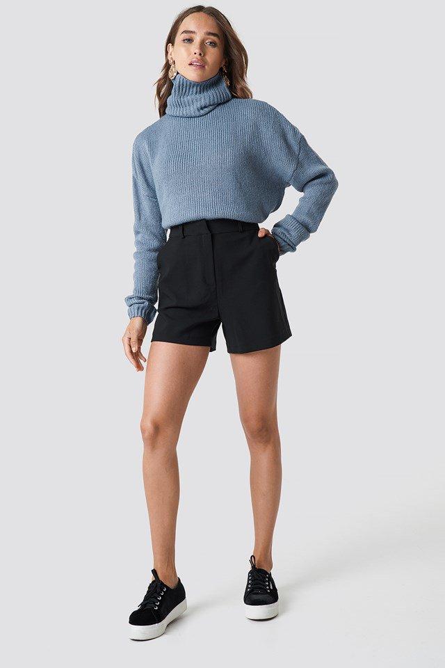 Blue Knit Black Short Outfit