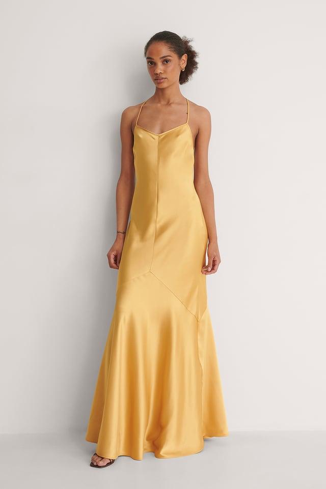 Satin Flowy Slip Dress Outfit.