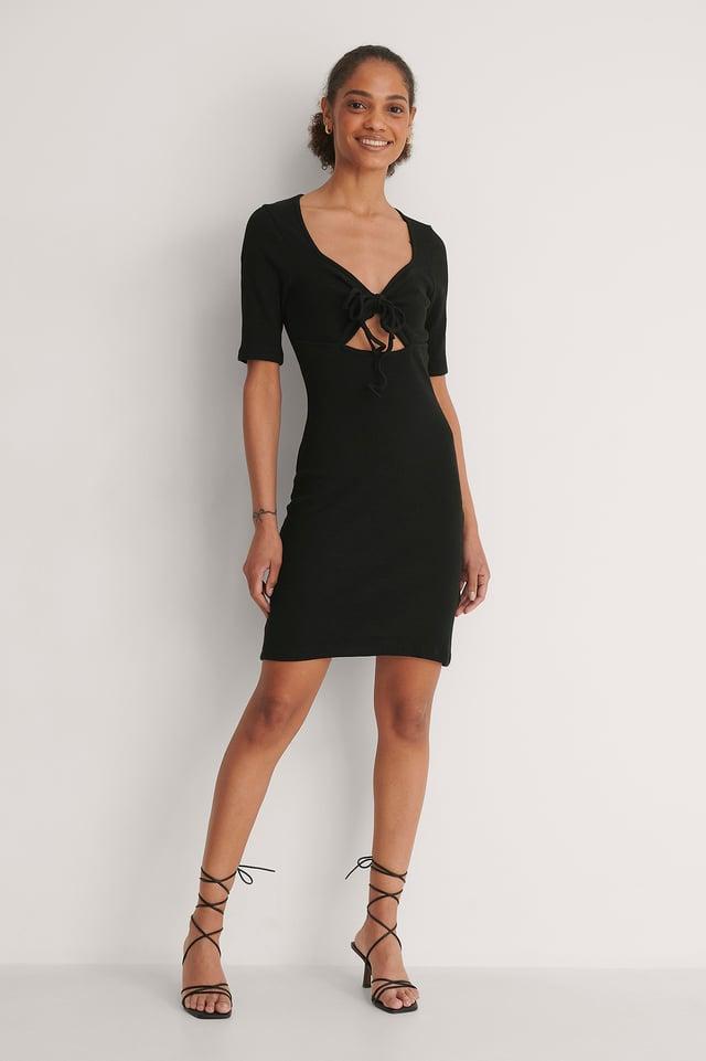 Neck Detail Mini Dress