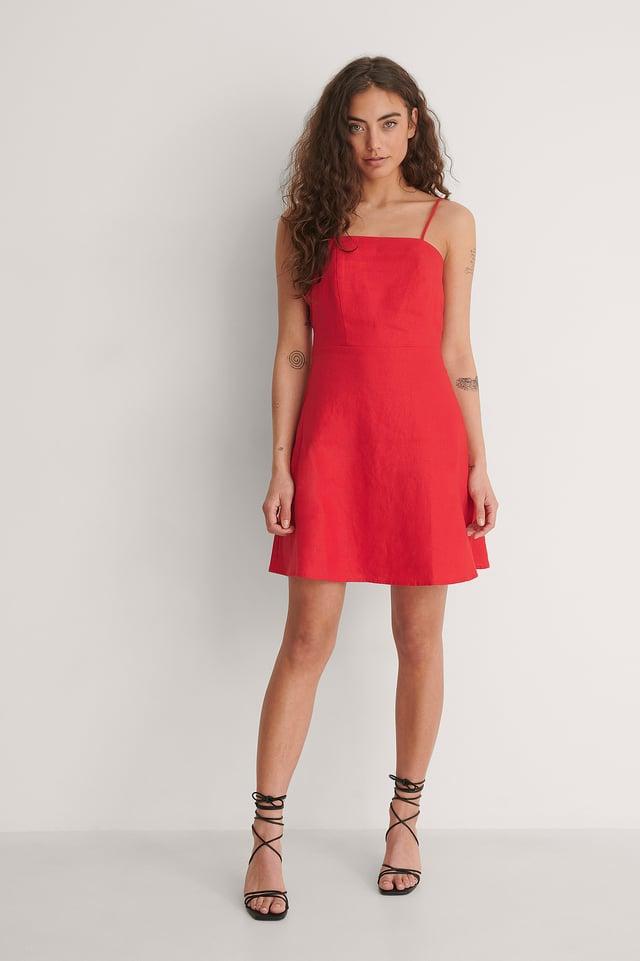 Lacing Back Linen Dress