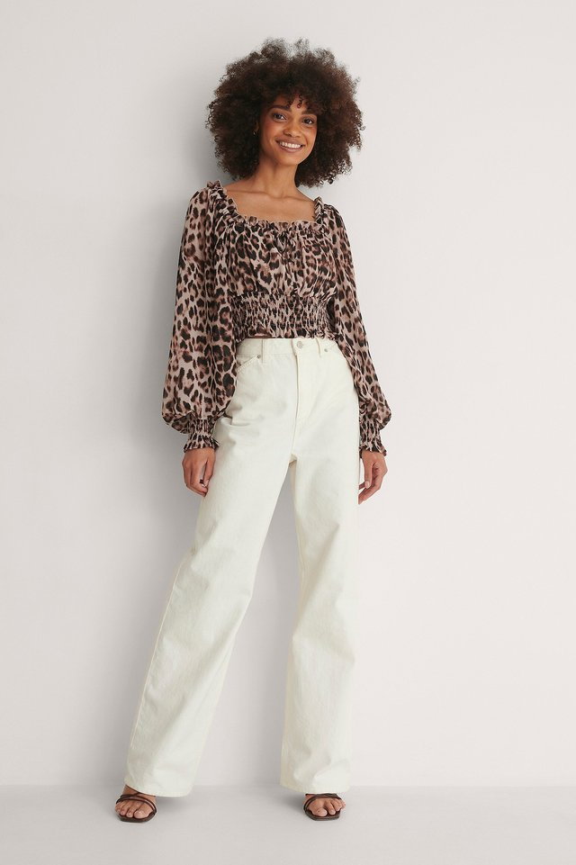 Recycled Squared Neck Blouse Outfit