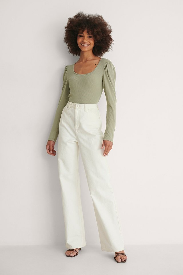 Puff Sleeve Rib Top Outfit