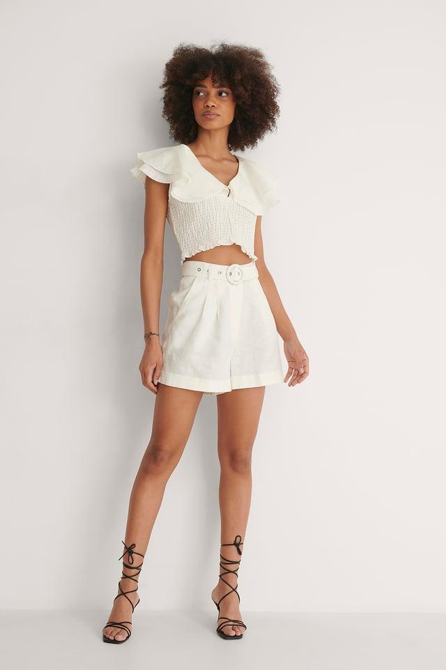 Highwaist Belted Linen Shorts Outfit