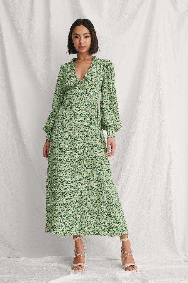 Balloon Sleeve Overlapped Dress Outfit