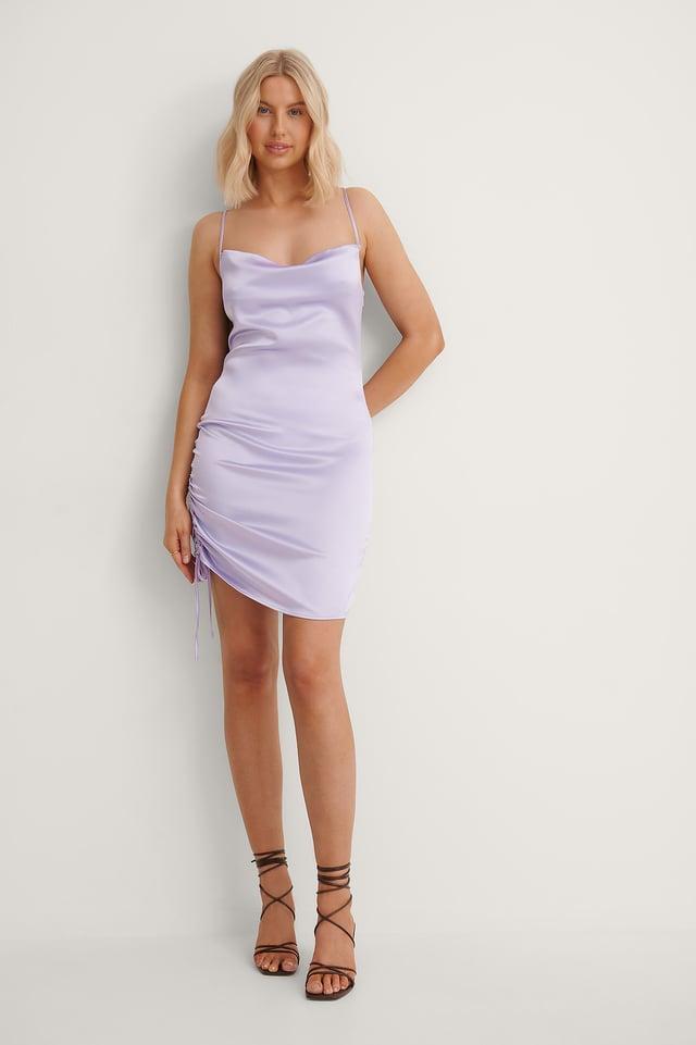 Drawstring Detail Slip Dress Outfit.