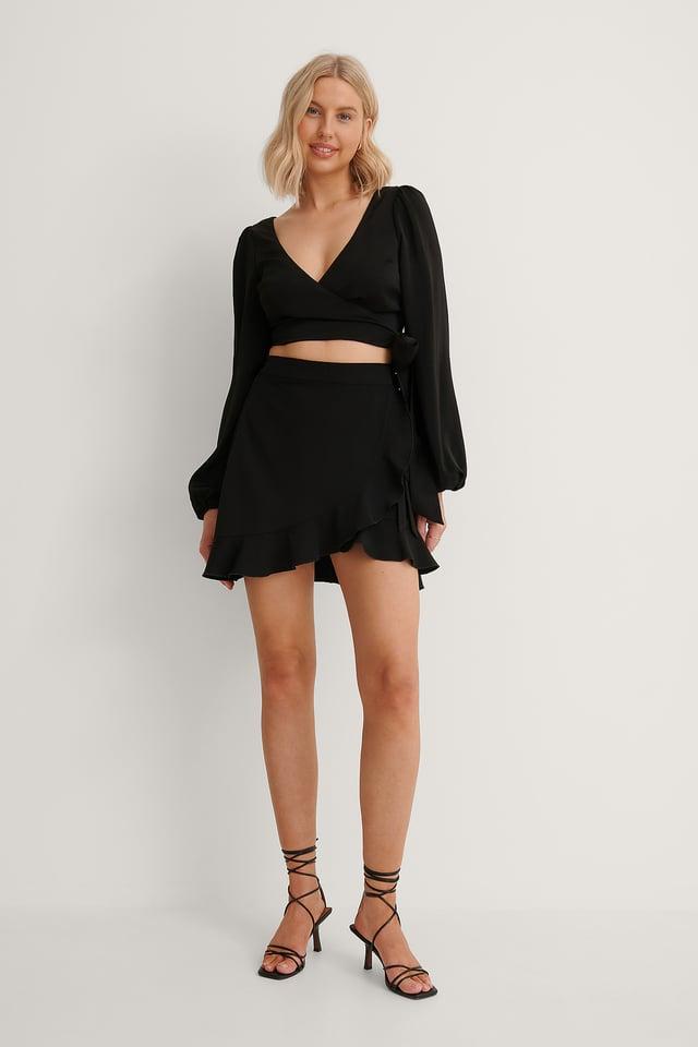 Overlap Mini Skirt Outfit.