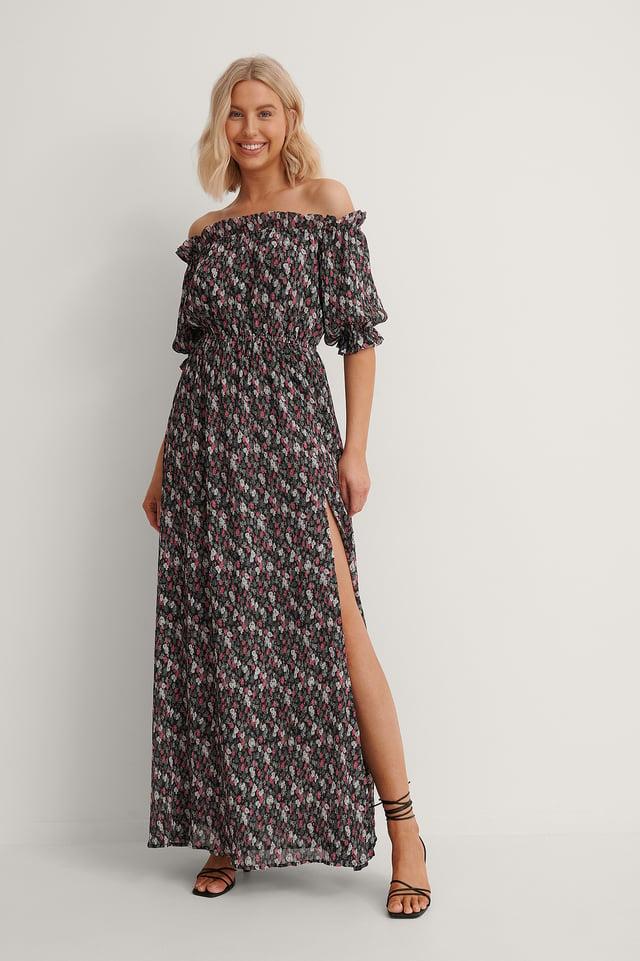 Off Shoulder Flounce Detail Maxi Dress Outfit.