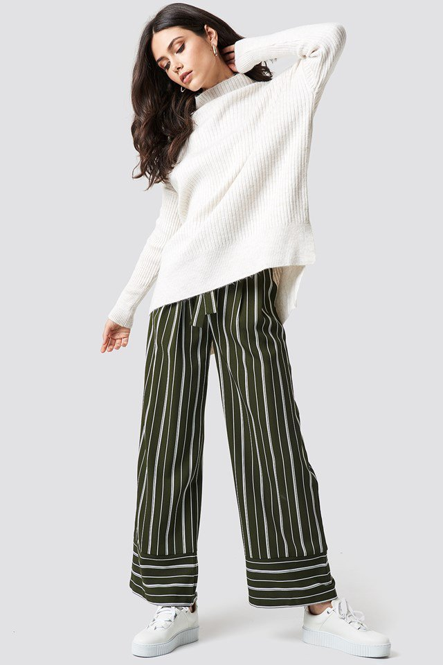 Collared Sweater X Striped Pant Outfit