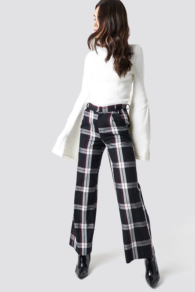 Classic White Knit and Checkered Pant Outfit