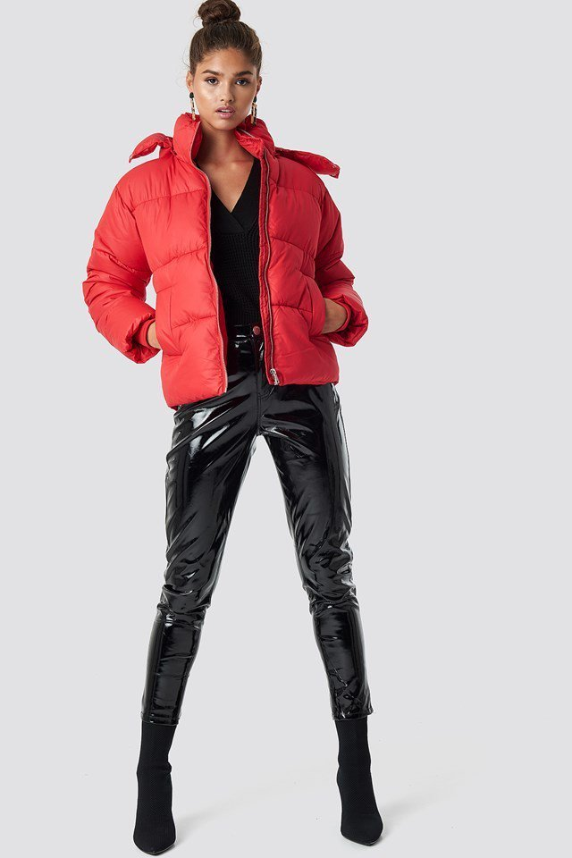 Puffer Jacket and PU Pants Outfit