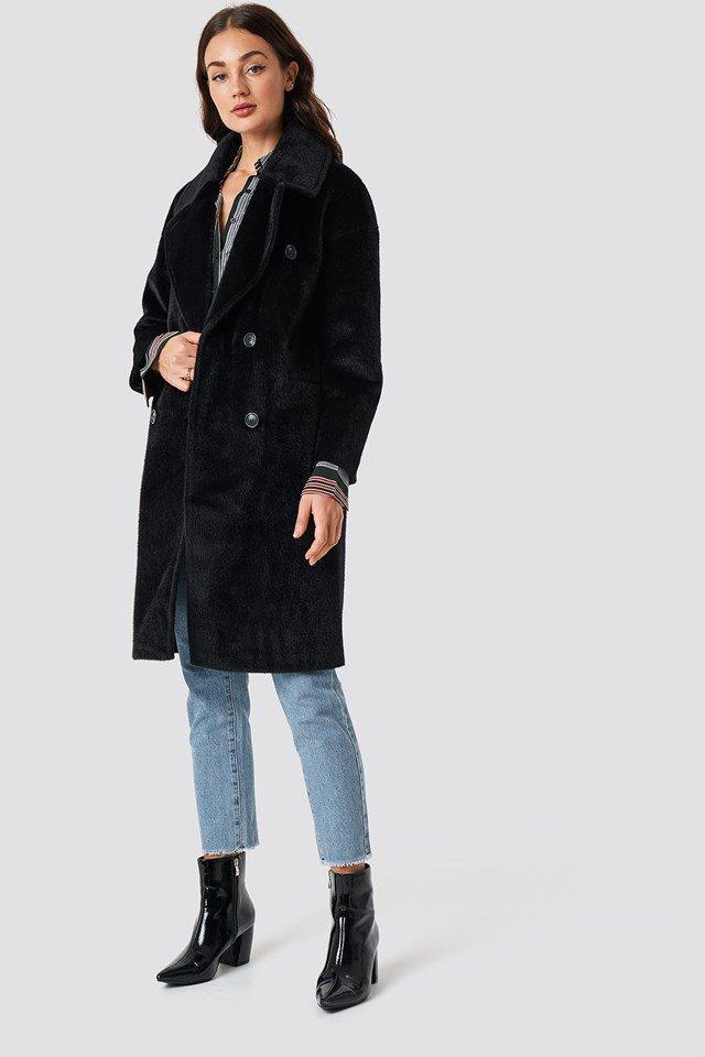Long Faux Fur Coat Outfit