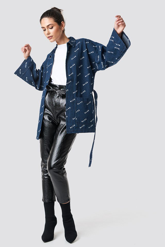 Denim Logo and Leather Outfit