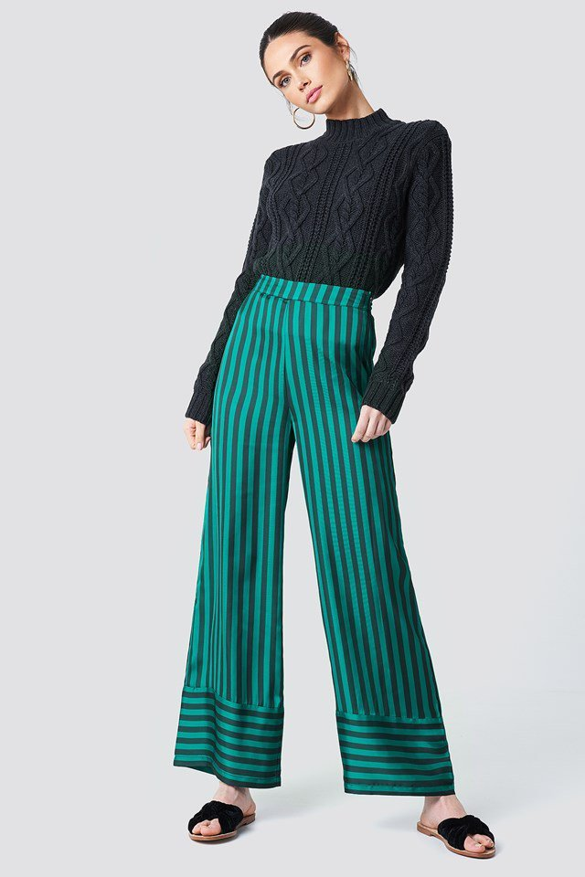 Cable Knit and Striped Pant Outfit