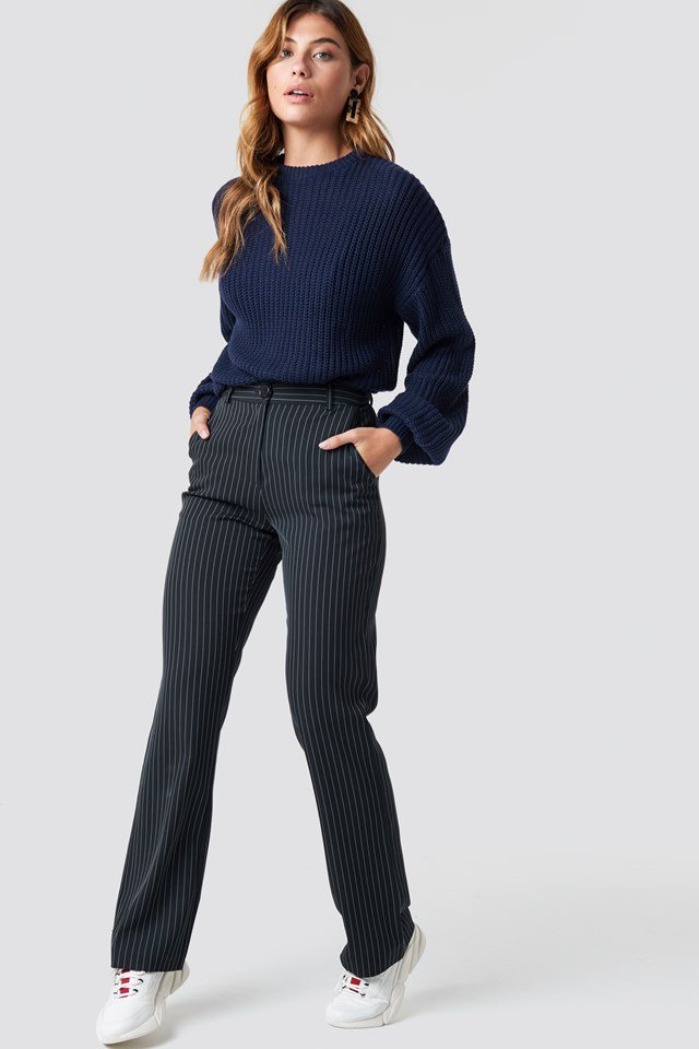 Shoulder Knit and Pant Outfit