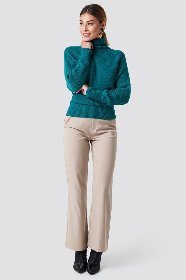 Casual Green Knit and Pant Outfit