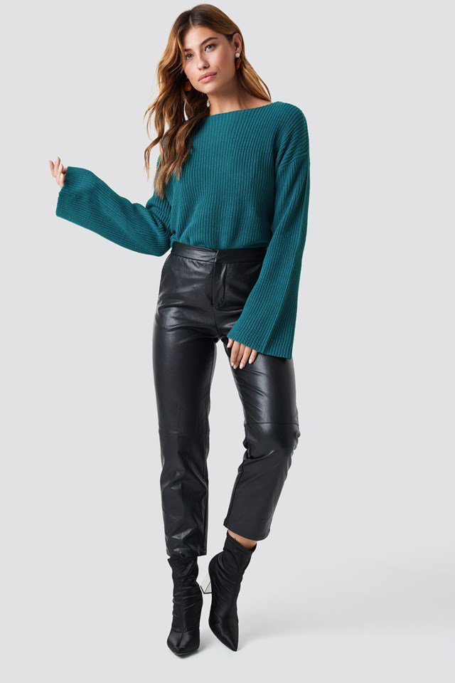 Leather and Green Knit Outfit