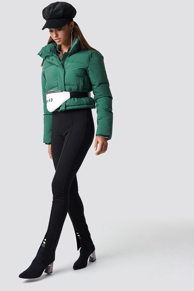 Green Puffy Jacket Outfit