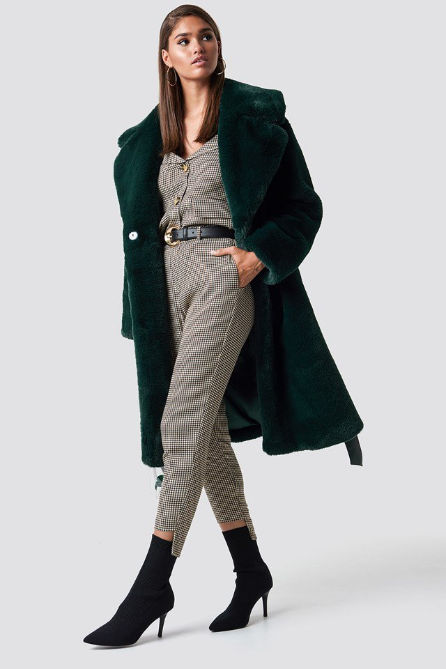 Green Fur Coat Outfit