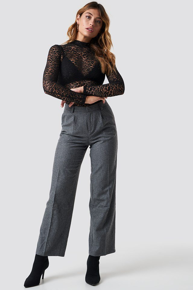 Mesh Lace and Trousers Outfit