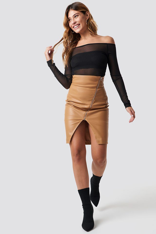 Off Shoulder Mesh X Skirt Outfit