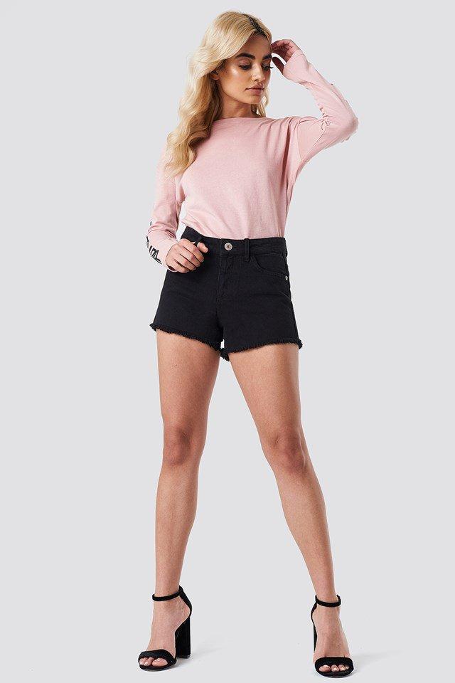 Fray Denim Shorts