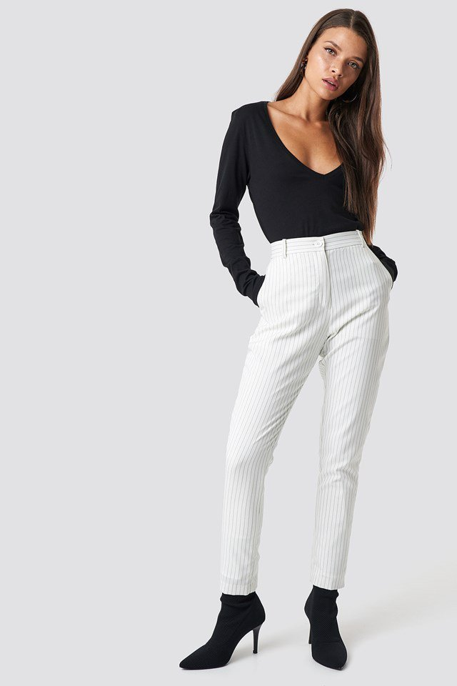 Black Top with Statement Pants.