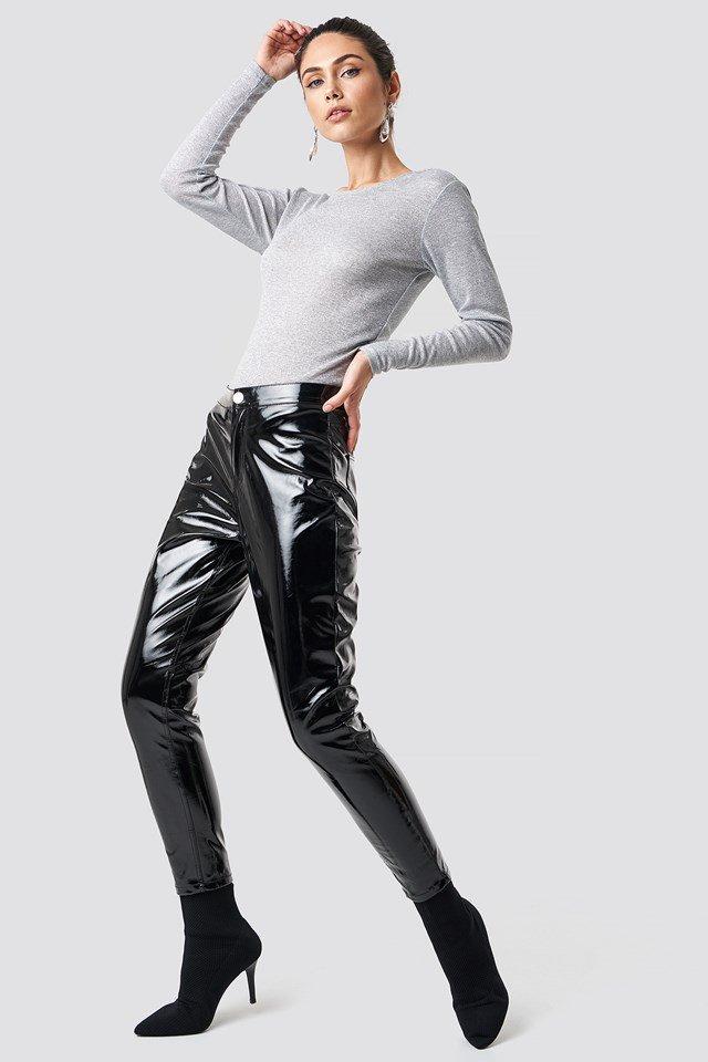 Grey Long Sleeve Top with PU Pants.
