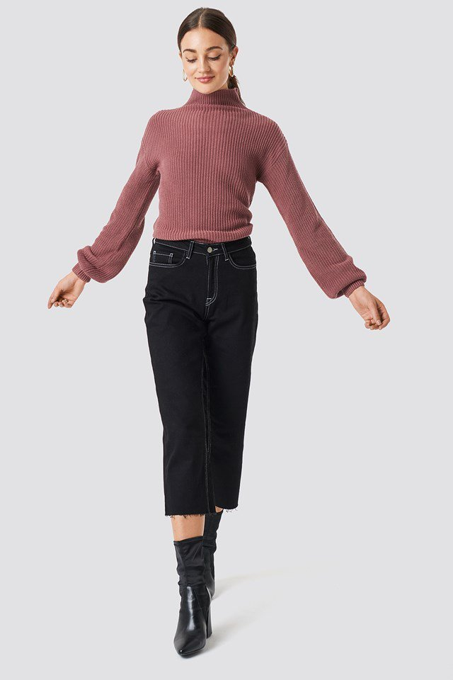 Pink Knit X Seamed Trousers Outfit