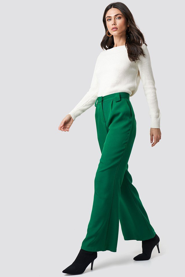 Green Pant X White Knit Outfit