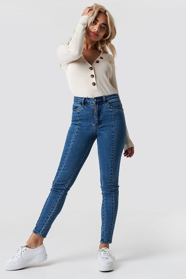Highwaist Skinny Panel Jeans