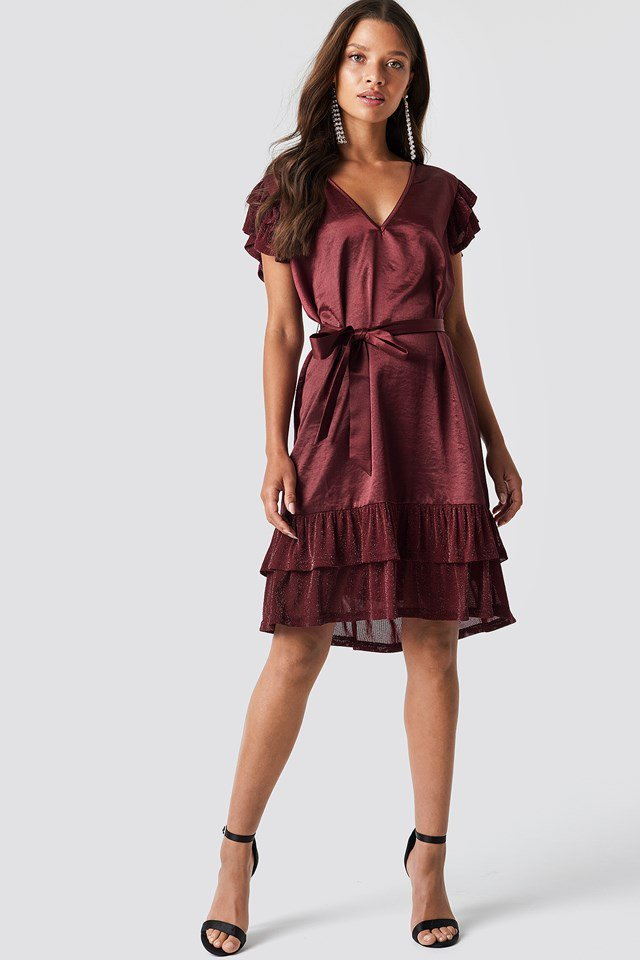 Red Wrap Glitter Sleeves Dress Outfit