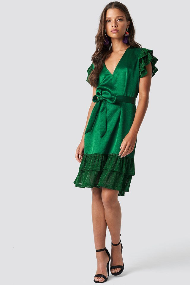 Green Wrap Glitter Sleeved Dress Outfit