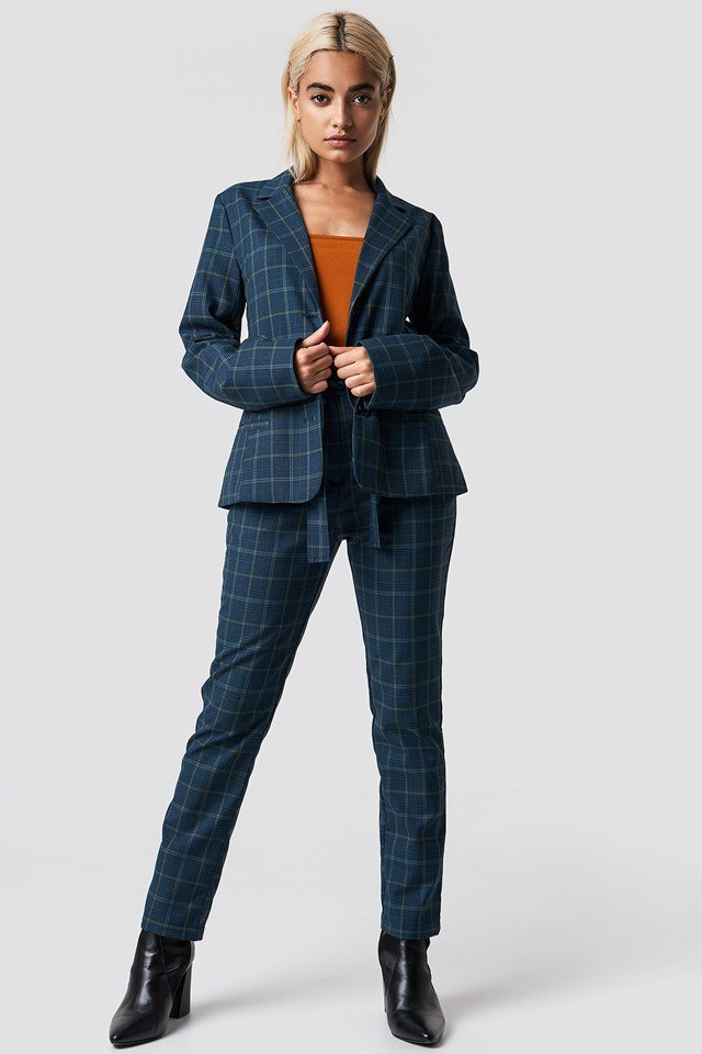 Matching Tie Waist Pant and Blazer Outfit