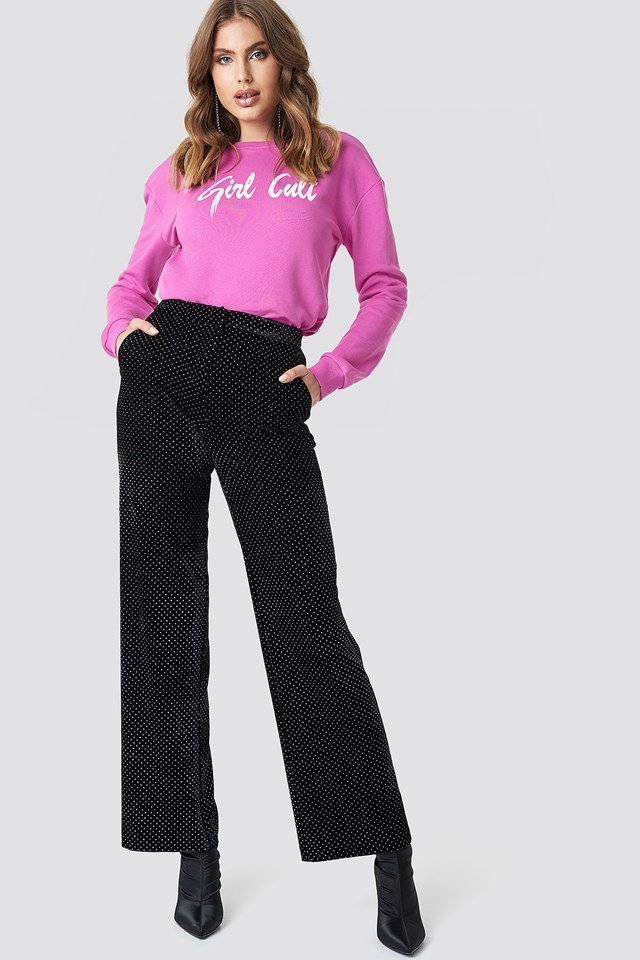 Sweater with Velvet Pants Outfit.