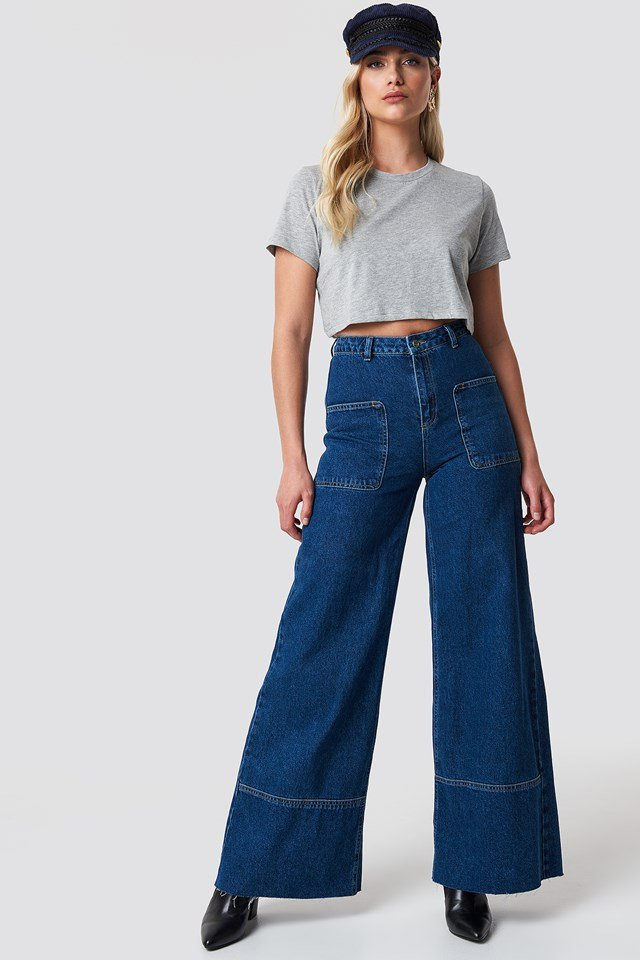 Grey Cropped Tee X Wide Leg Trouser Outfit