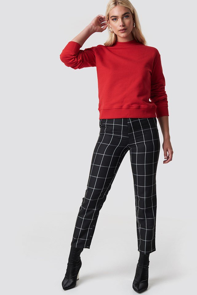 Red Sweatshirt X Checkered Pant Outfit