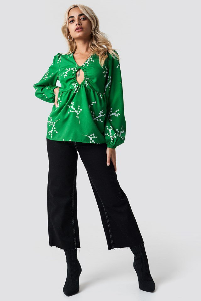 Green Detailed Blouse Outfit