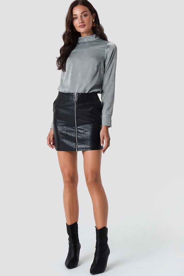 Grey Blouse X Leather Skirt Outfit