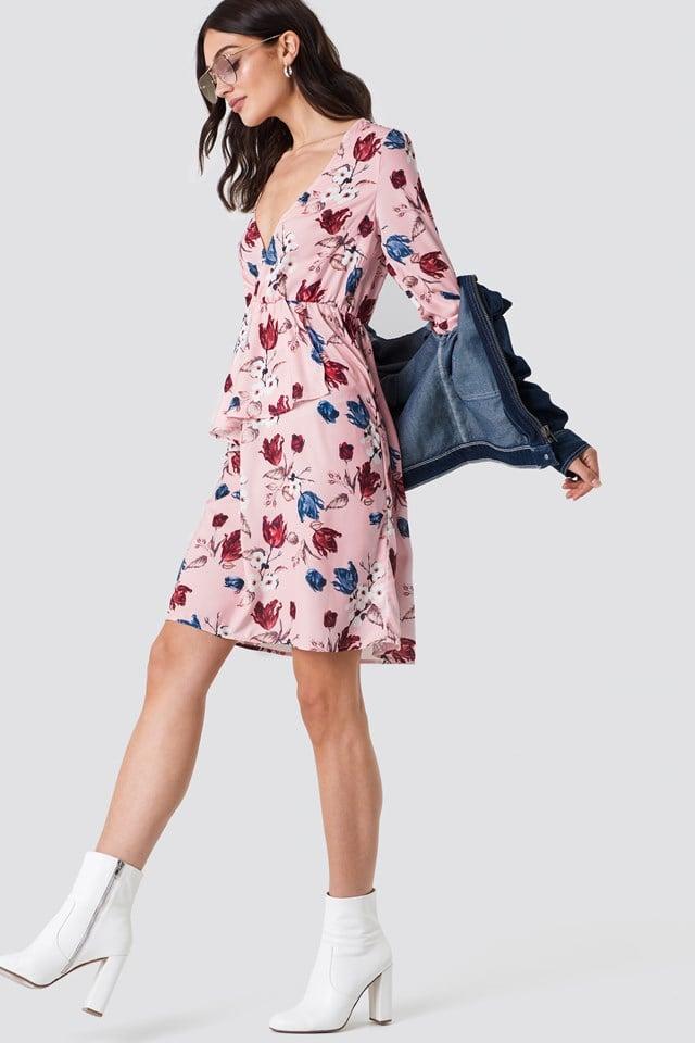 V-Neck Frill LS Dress